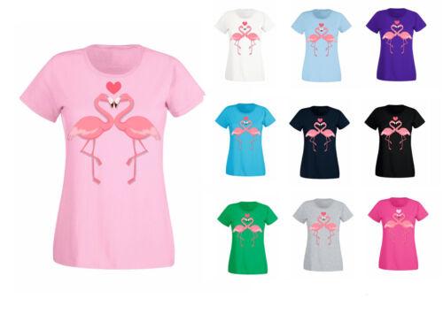 T-Shirt Damen Shirt Sommershirt Flamingo