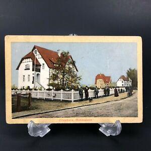 VTG-RPPC-Postcard-Elmshorn-Muhlendamm-Germany-Antique-Gentleman-Dog-Bike-c-1915
