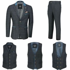 Mens-Azul-Tweed-cheque-3-Piezas-Traje-Chaqueta-Pantalon-Chaleco-se-vende-como-por-separado