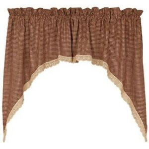 Details about burgundy tan gingham check curtain window valance swag