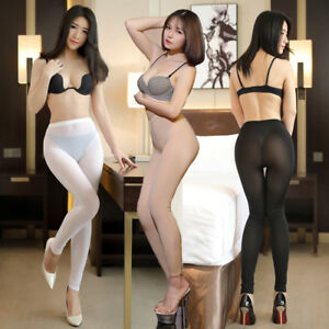 96c52e6614f0d4 Sexy Ice Silk Transparent One Piece Leggings See Through Pencil ...