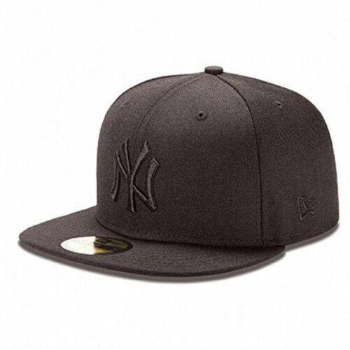 BLACK//BLACK NEW ERA MBL NEW YORK 59 FIFTY CAP//FITTED !