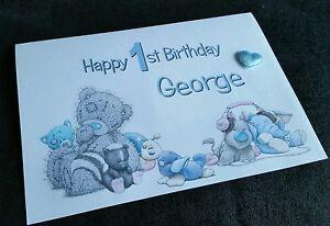 Personalised Name 1st Birthday Card Son Nephew