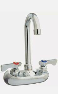 "Krowne 10-400L Silver Series 4"" Center Wall Mount Faucet, 3-1/2"" Gooseneck Spout"