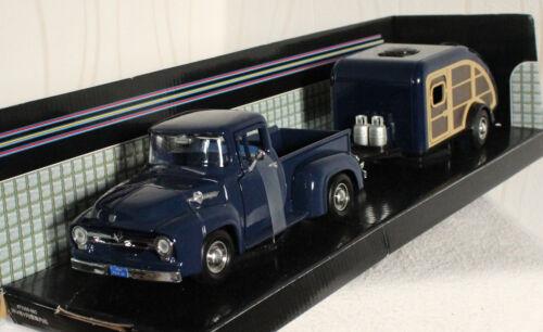 Ford F-100 Pick up 1956 blau mit Wohnwagen 1:24 Motor Max