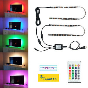 2X-LED-TV-Retroiluminacion-USB-LED-Colorido-Iluminacion-Tira-RGB-Remoto-TV-PC