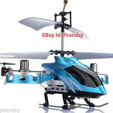 Alloy Metal ReChargeable Helicopter Radio Remote Control Aircraft Blue 4 Channel
