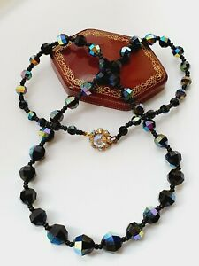 Vintage-24-034-1950s-Sparkly-Aurora-Borealis-Faceted-Glass-Necklace