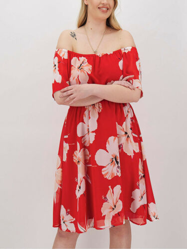 26 24 Simply Be Red Floral Print Bardot Dress in Sizes 22