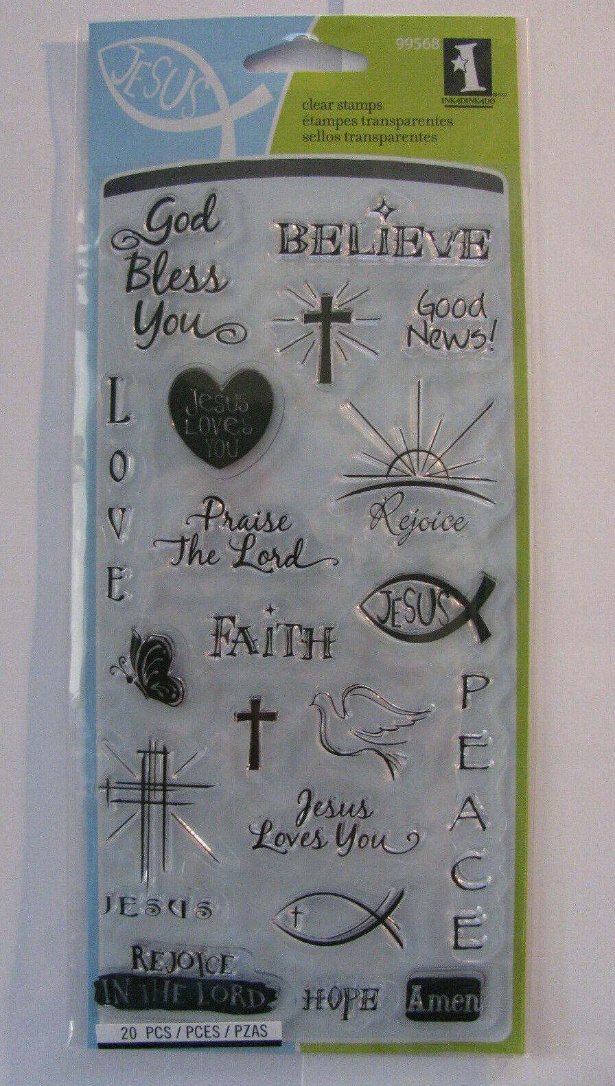 Inkadinkado Clear Acrylic Stamps Good News Religious Faith 99568 NEW