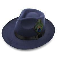 Men Women Panama Hat Fedora Trilby Cap Hard Felt Peacock Feather Band Wide Brim