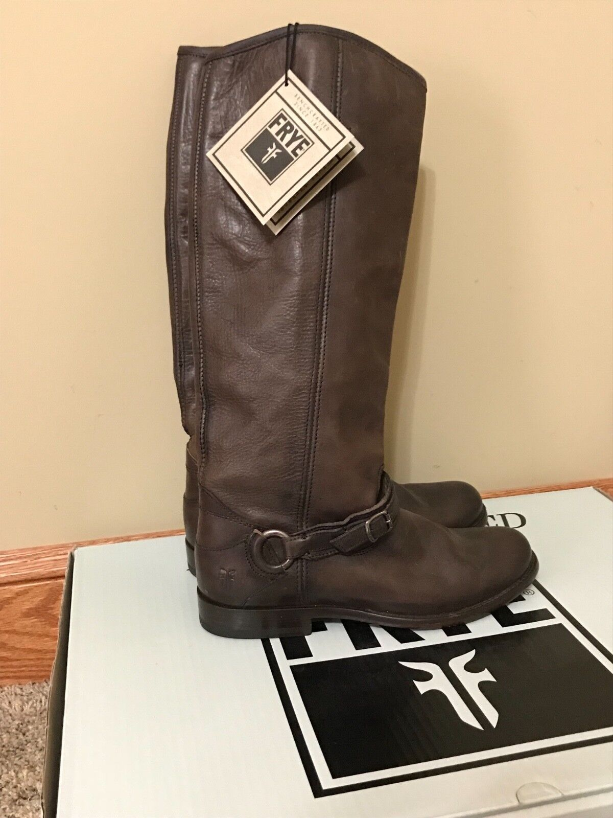 Frye Phillip Ring Tall marron Knee High Pull On Riding démarrage Sz 8