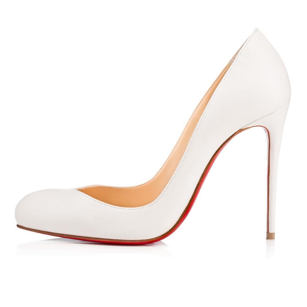 Christian Louboutin Louboutin Louboutin BRECHE 100 Leather Heels Pumps chaussures Latte blanc  675 6a0670