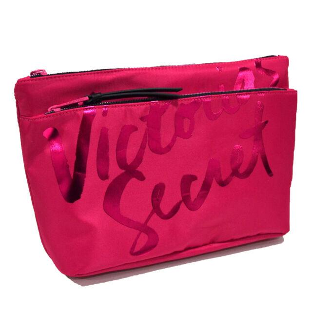 eccbbf67e4 Victoria s Secret Pink Double Zip Bag Makeup Beauty Case Clutch Large  Organizer