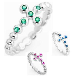 Anello-Donna-AMEN-Argento-925-Croce-Pietre-Colorate-Verde-Blu-Rosa-Cross
