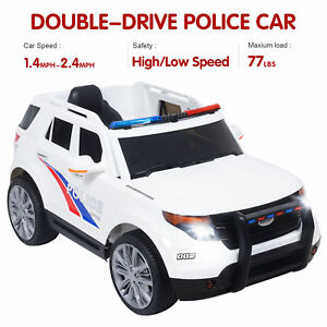 Toy Cars That You Can Drive >> Details About 12v Kids Ride On Toy Double Drive Police Cars W Siren Detachable Speaker White