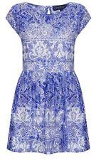 TOPSHOP China Blue White Floral Lace Vtg Celeb Flippy Summer Skater Dress 8 4 36