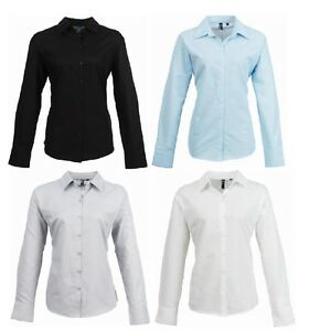 3d5ffaf601e New Premier Womens Smart Oxford Ladies Long Sleeve Collared Shirt ...