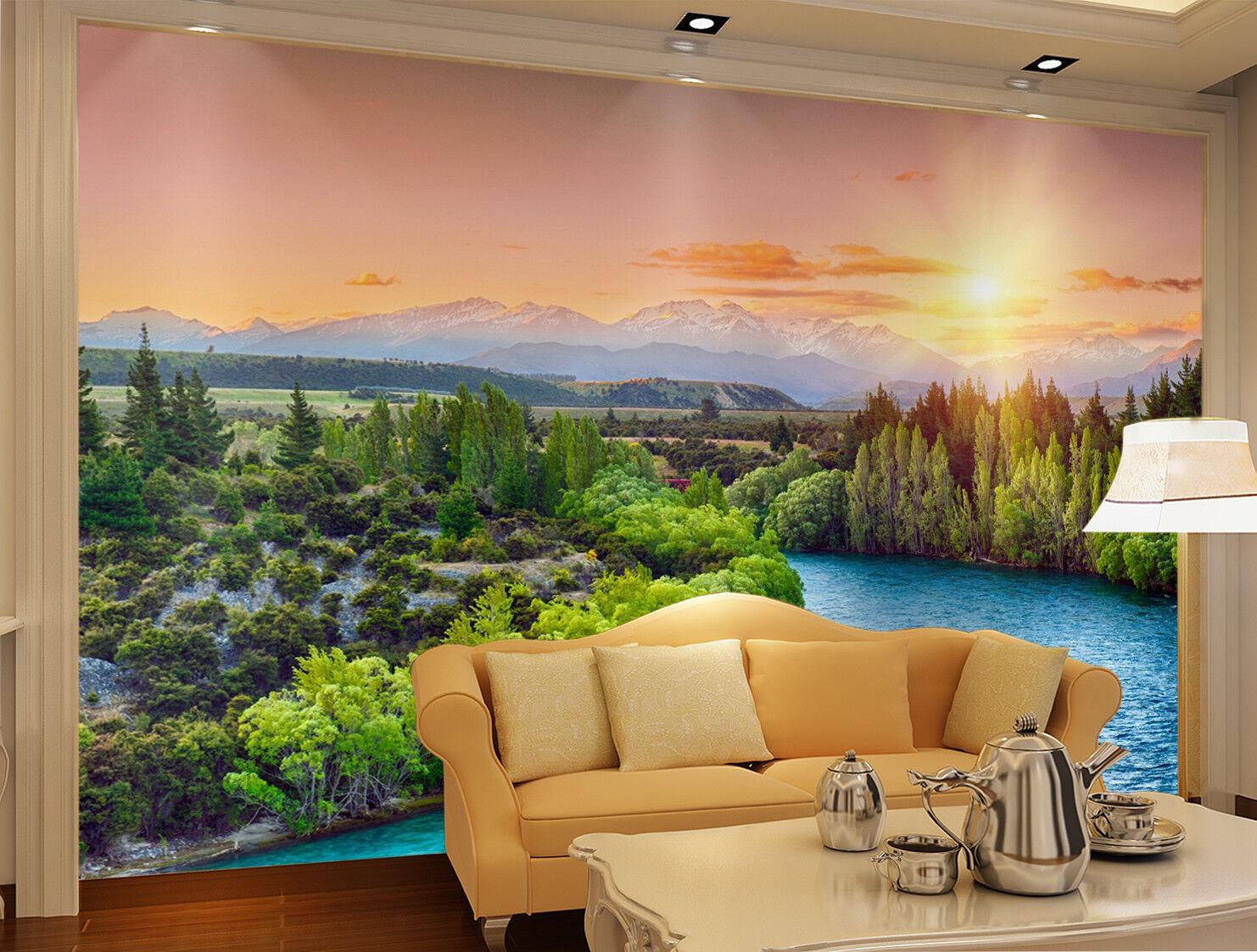 3D Sun Jungle Lake 732 Wall Paper Murals Wall Print Wall Wallpaper Mural AU Kyra