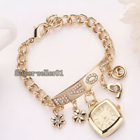 Two Color Girl's Chic Love Rhinestone Stainless Steel Chain Bracelet Wrist Watch