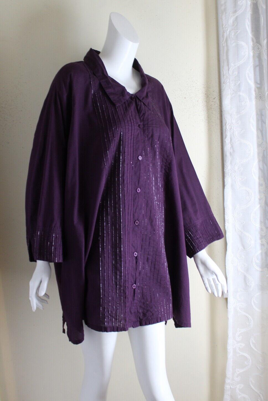 Ulla Popken 32 34 4X 5X Lightweight Rich lila Cotton Pleated Blouse Hemd oben