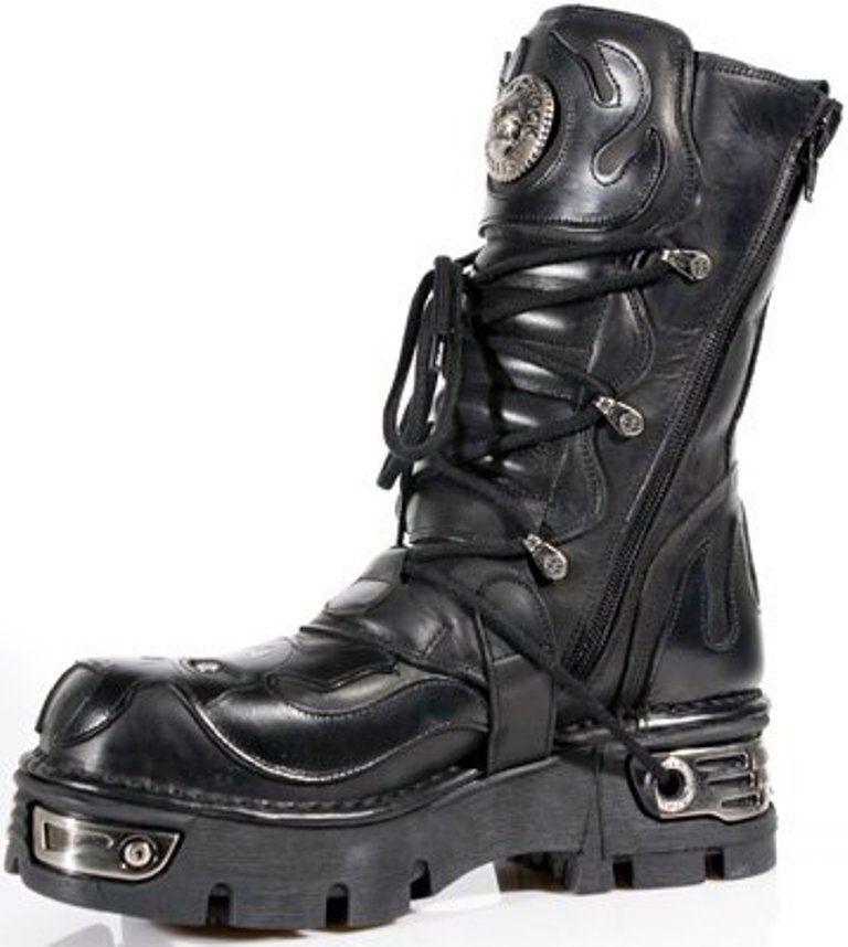 Newrock Biker New Rock 107-S3 Nero Teschio Diavolo Pelle Stile Biker Newrock Goth Rock Boots be242e