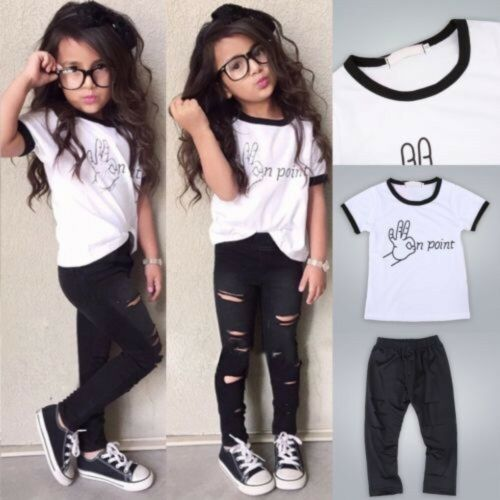 NEW Toddler Kids Baby Girls Clothes T-shirt Tops Hole Pants 2PCS Outfits Set