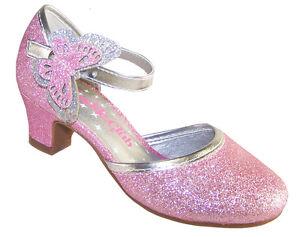 Girls Children New Sparkly Pink Silver Low Heel Party ...