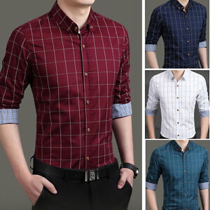 New-Men-039-s-Fashion-Plaids-Luxury-Casual-Slim-Formal-Stylish-Dress-Shirts-UST6283