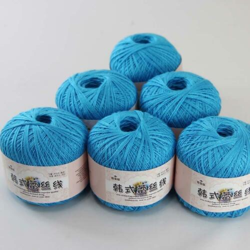 6ballsx50g Soft New Hand Cotton Lace Crochet shawl sock Knitting Yarn Aqua Blue