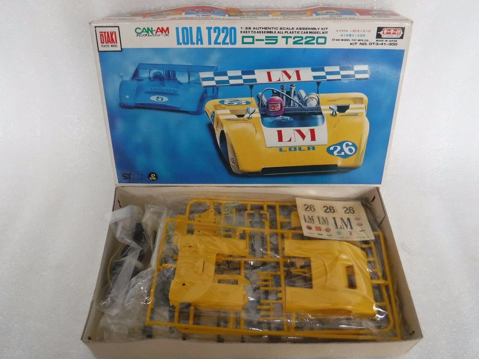 Vintage Otaki 1 28 Lola T220  Can-Am Motorised Car Model Kit , Very Rare