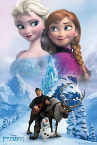 Frozen-Elsa-and-Anna-POSTER-61x91cm-NEW-Snow-Queen-Kristoff-Olaf-Sven-Disney