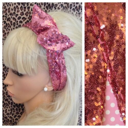 NEW PINK SEQUIN BENDY WIRE HAIR WRAP WIRED HEADBAND SCARF STYLE VINTAGE GLAMOUR