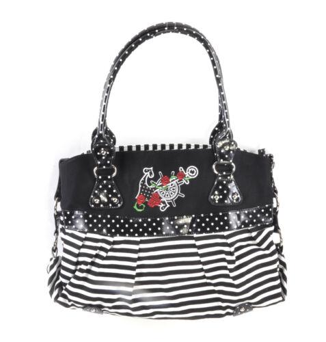 Shoulder Bag Rose Anchor Tattoo Black /& White Striped Large Shopping