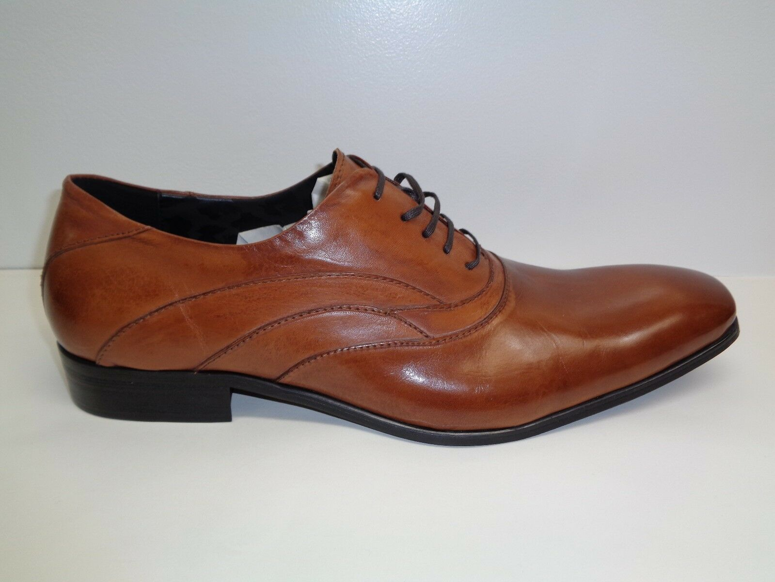 Kenneth Cole Size 13 M JIG SAW Cognac Brown Leather Lace Oxfords New Mens shoes