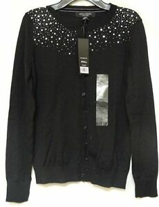 Central Park West Women's Sequin Cardigan Sweater Black Sz Small ...