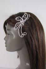 Women Silver Metal Head Fashion Jewelry Butterfly Hair Pin Bridal Wedding Party