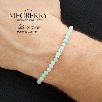 MEGBERRY® Mens Beaded Bracelet 925 Sterling Silver & Chinese Amazonite UK seller