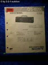 Sony Service Manual CFS 1020L Cassette Corder (#3509)