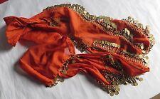 Foulard, ceinture de danse orientale authentique avec breloques en métal doré –