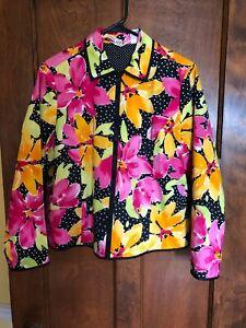 Laura Ashley Petite Medium Floral Cotton Stretch Full zip Jacket Lined Dot