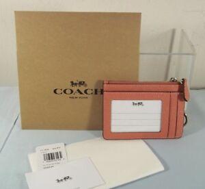 NWT New Coach 21072 Mini ID Skinny Key Chain Case Wallet Leather Metallic $65
