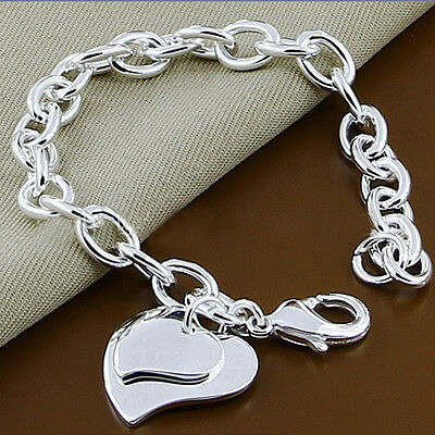 Heart Style Jewelry Women Chain Bracelet  Silver Plated Gift