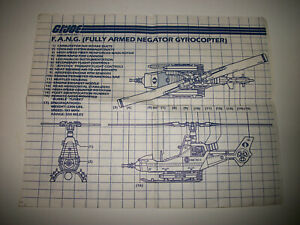 GI Joe 1983 Cobra Fang Copter Blueprints Original Vintage Instructions Hasbro