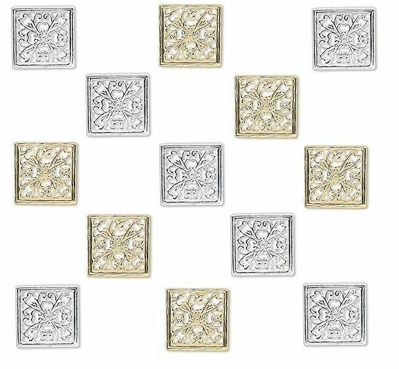 4523FY Drop Charm Silver & Gold plated Brass 13x13mm Square Filigree 10 Qty