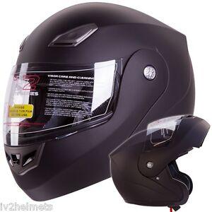 IV2 Bluetooth Compatible, MATTE BLACK, MODULAR FLIP UP, MOTORCYCLE HELMET [DOT]