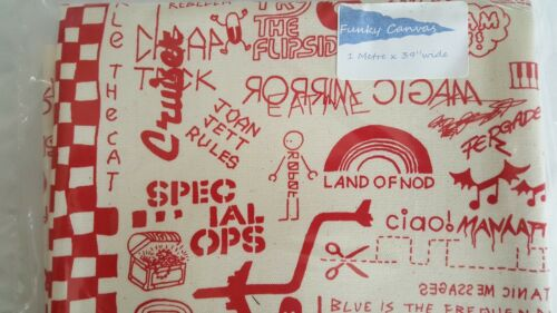 """1 metre x 39/"""" wide of punk print canvas pre cut pre packed at size red"""