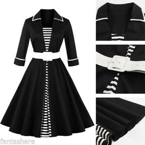 Rockabilly-50s-Vintage-Belted-Evening-Retro-Pinup-Swing-Cocktail-Formal-Dress