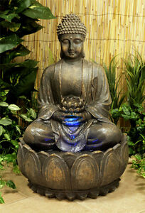 Fontaine Exterieur Bouddha fontaine cascade autonome bouddha fleur de lotus lumière led