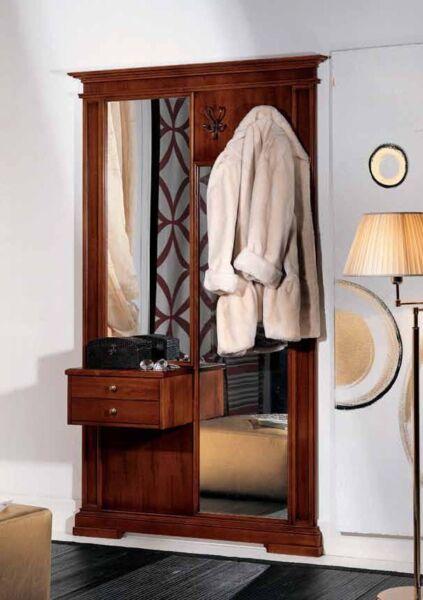 1 Ingresso Parete In Legno Massello Noce Classico-specchio Appendiabiti Df227